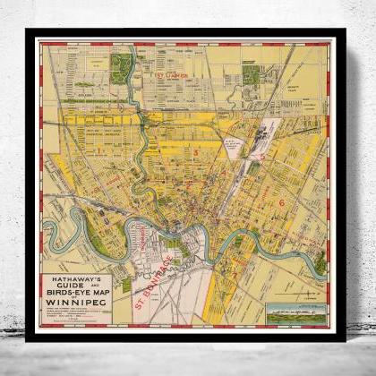 Old Map of Winnipeg Manitoba, Canad..