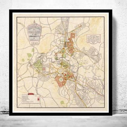 Vintage Map of Canberra City , Aust..
