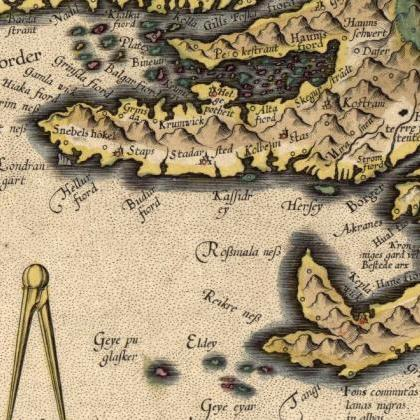 Old Map of Iceland islandia 1606