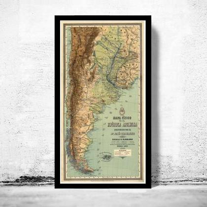 Old Map Argentina South America Ant..
