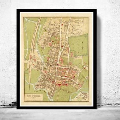 Old Map of Oxford 1910, England Uni..