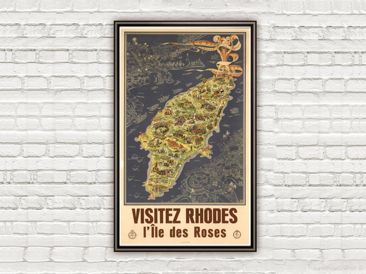 Vintage Poster of Rhodes Island Greece