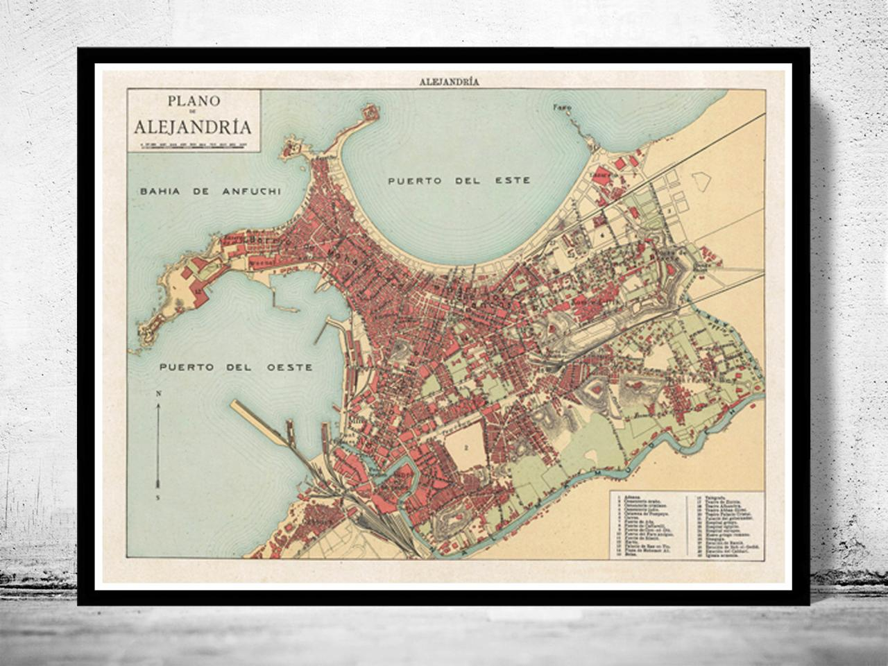 Alexandria egypt vintage map old map 1900 on luulla alexandria egypt vintage map old map 1900 gumiabroncs Image collections