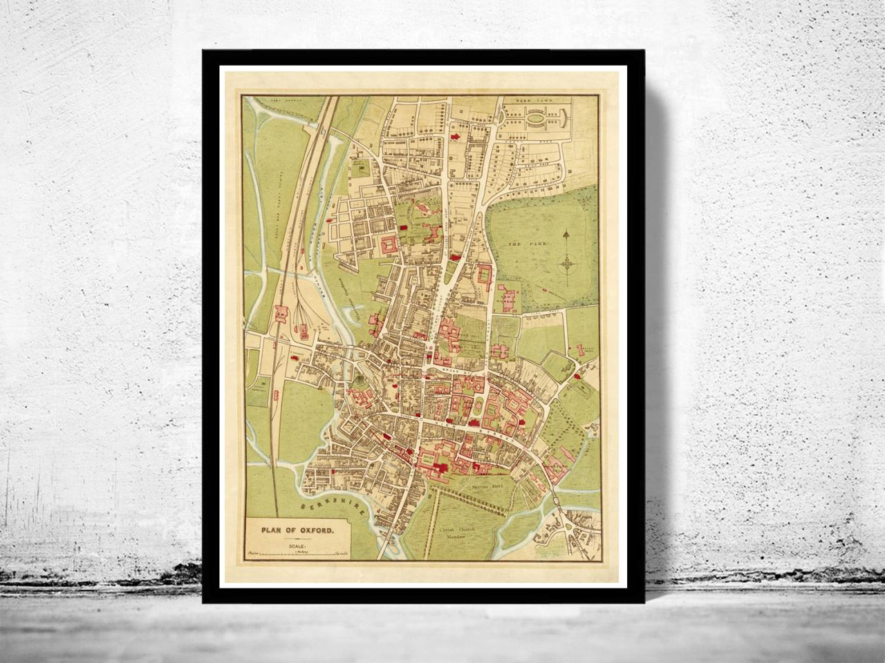 Old Map of Oxford 1910, England United Kingdom
