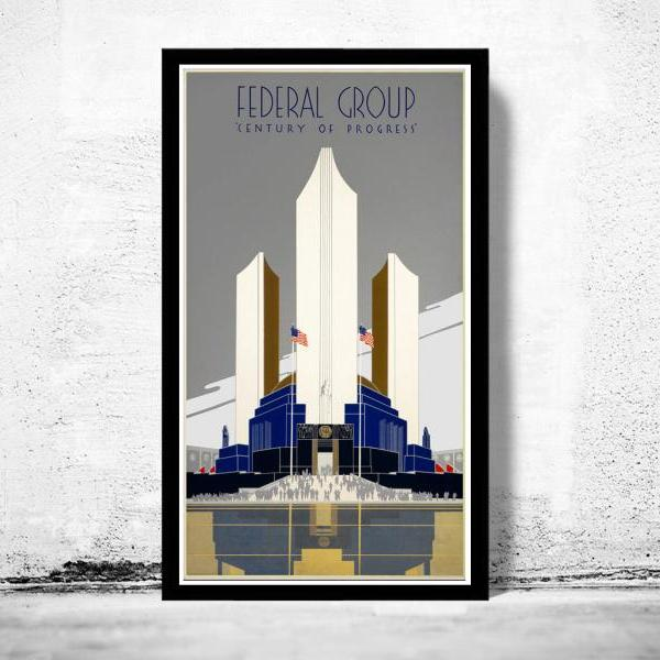 Vintage Poster of Chicago expo poster, 1930 Federal Group