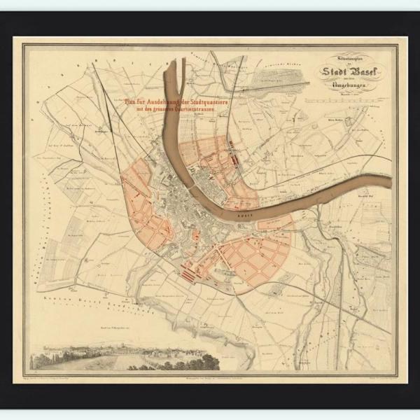 Old Map of Basel Basilea, Switzerland Suisse 1860
