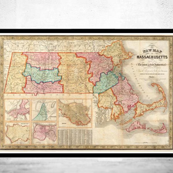 Old Map of Massachusetts 1839, Boston, Salem, Worcester,Lowell, Springfield