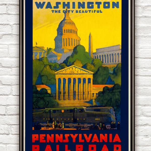 Vintage Poster of Washington Pennsylvania railroad 1930 Tourism poster travel