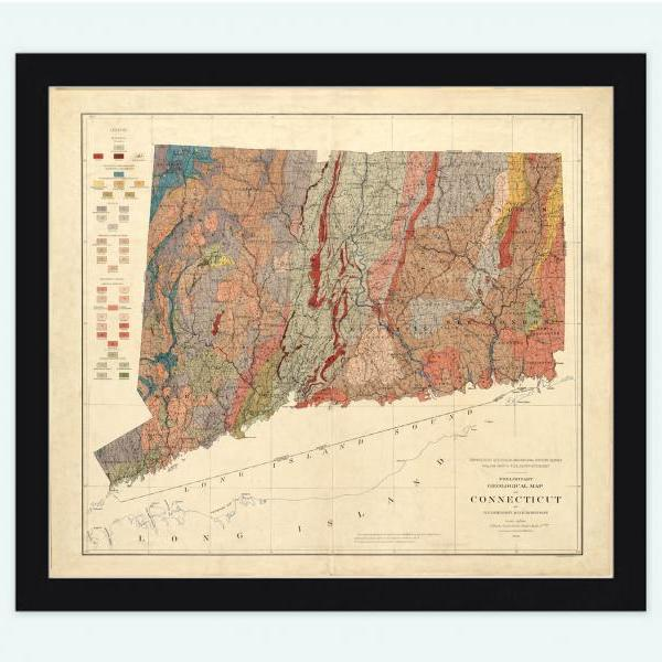 Old Map Connecticut 1906 United States of America